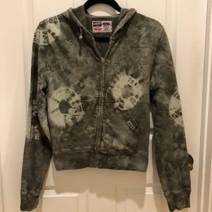 LUCKY BRAND ARMY GREEN TIE DYE ZIPPERED HOODIE